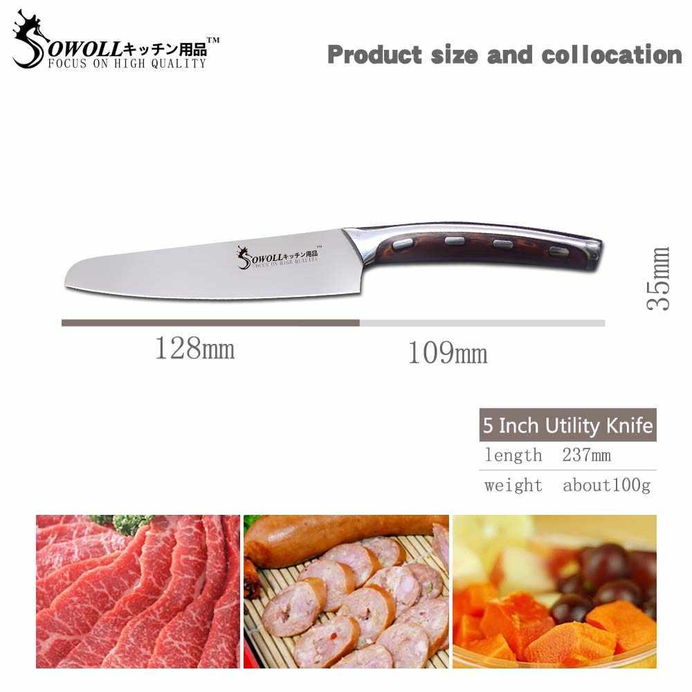 Sowoll facas 4cr14 de alta qualidade, facas de chef de cozinha para cortar, em aço inoxidável, 5 polegadas, com utilidade para 6 polegadas, 7 polegadas faca com faca