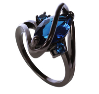 2015 New Fashion Luxury Vintage Black Gold Filled Blue Sapphire Jewelry Ring Lady S 10KT Rings