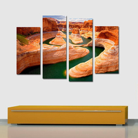 Canyon river landscape Big Size Posters Home Decor Oil Painting Modern Canvas Painting Wall Pictures For living room Coffee DIY