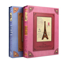 7-inch 200 Pages Interstitial  Photo Album Retro Tower Scrapbook Paper Baby Family Albums Wedding Foto