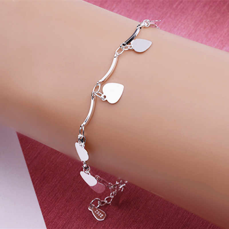 2019 New Charm Bracelet Classic Love Heart Chain Bracelets for Women Wedding Accessories Jewelry Wholesale Valentine's Day Gift