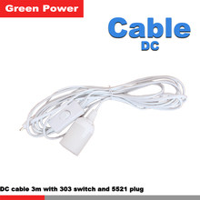 3m wire DC cable with DC5521 connecting terminal 303 switch E27 lamp-socket connect DC solar panel kit system for led lamp use(China)
