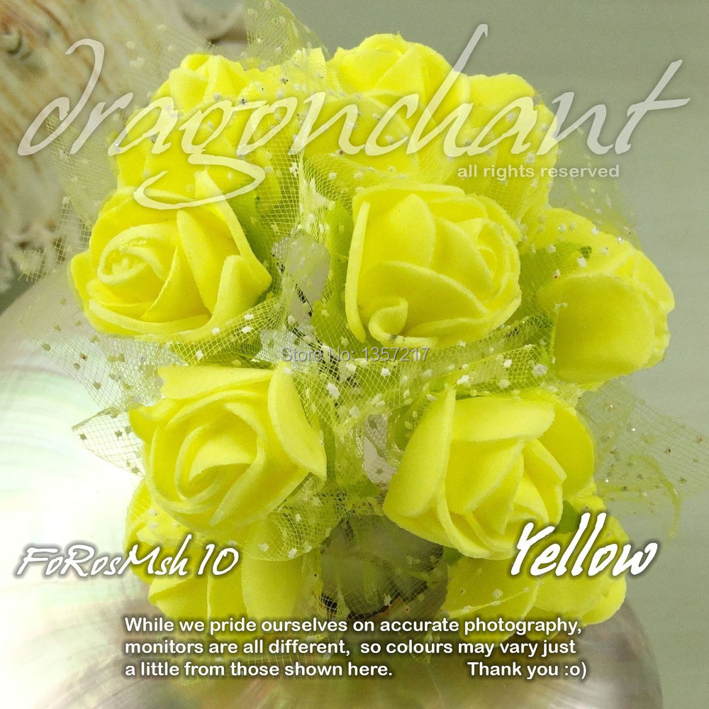 2016 New Size 2 25cm Head Solid Yellow Color Artificial Rose Foam