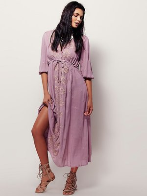 ecccf527673 New 2018 Luxury Embroidery Bohemian Cotton and Linen Beach Dress Casual  Purple V-neck Long Maxi Ankle-length Dresses