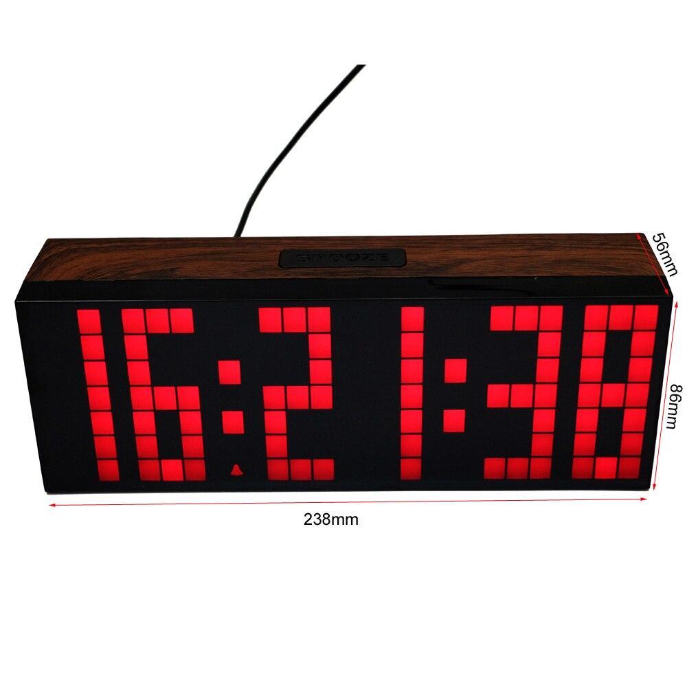 Grande Police LED Réveil Numérique Température Calendrier Horloges Murales Compte À Rebours Minuterie de Sport Grand Écran Led Réveil