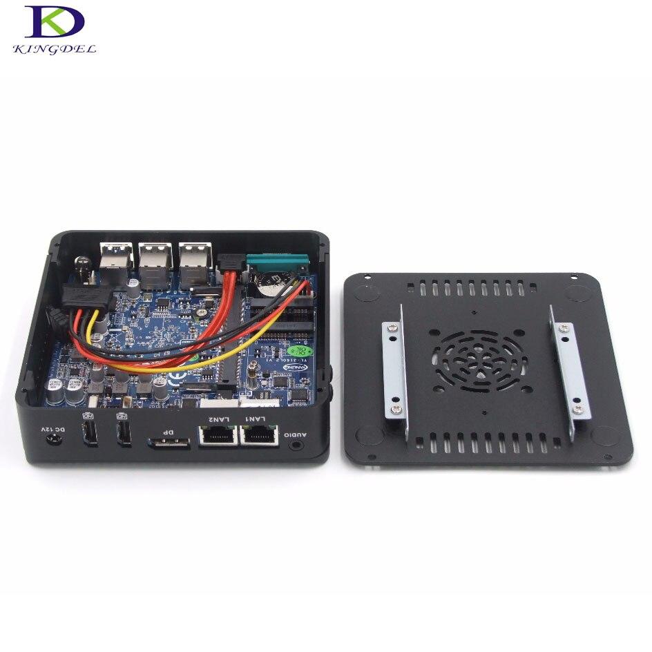 Малый Intel palm ТВ коробка Мини-ПК Windows 7 Dual HDMI и один DP 4 ядра Celeron n3160 с 1COM RS232 двойной lan Бесплатная доставка