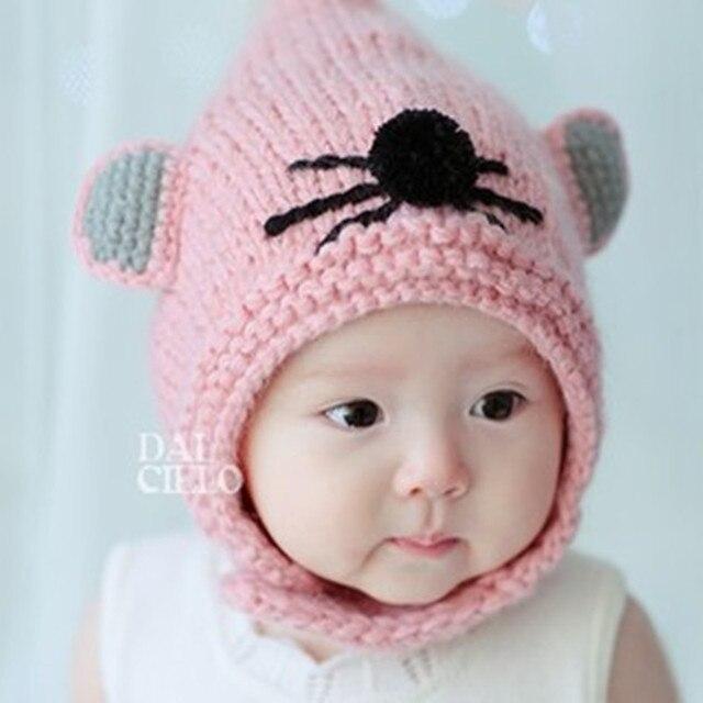 Cappello del bambino Autunno e inverno knit bambini Coreani cute mouse del  fumetto bambino orecchio cap 241594cf83d8