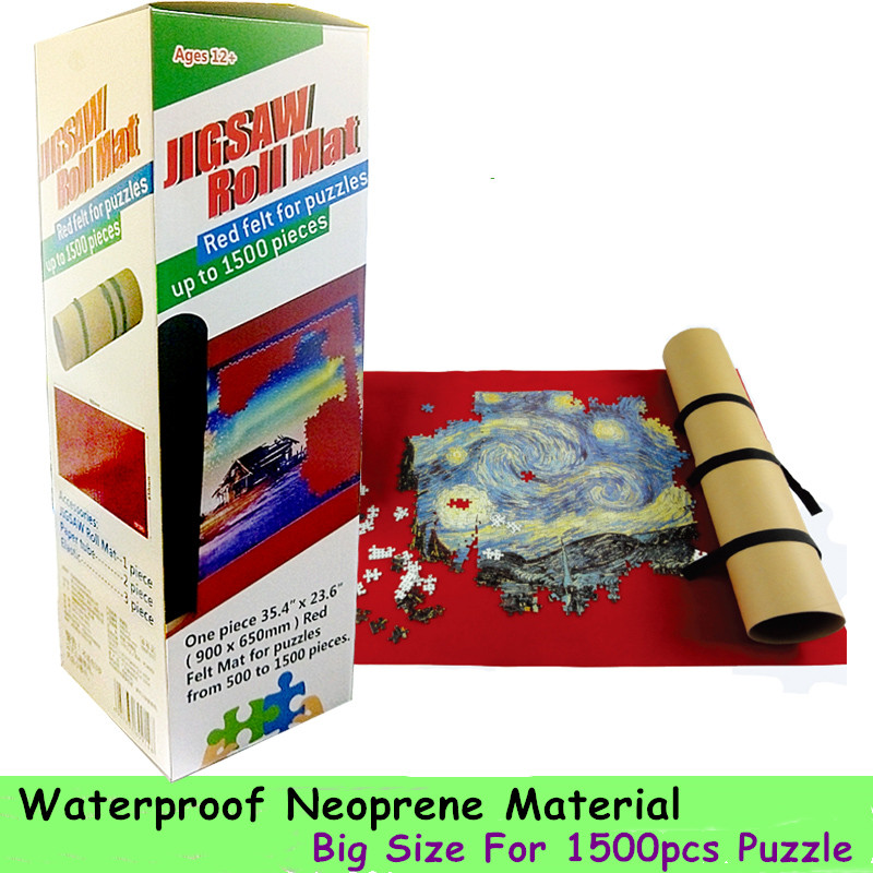 Portable <font><b>Puzzles</b></font> Mat <font><b>Jigsaw</b></font> Roll Mat large <font><b>1500</b></font> 1000 <font><b>pieces</b></font> <font><b>Puzzle</b></font> Accessories Storage Portable Travel Games Waterproof Red Mat image