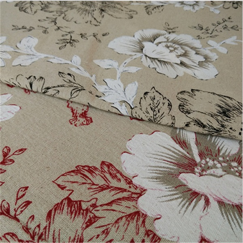 <font><b>150</b></font> cm X <font><b>50</b></font> cm big flower linen printed fabric professional crafts fabric for cushion cover pillow sofa image