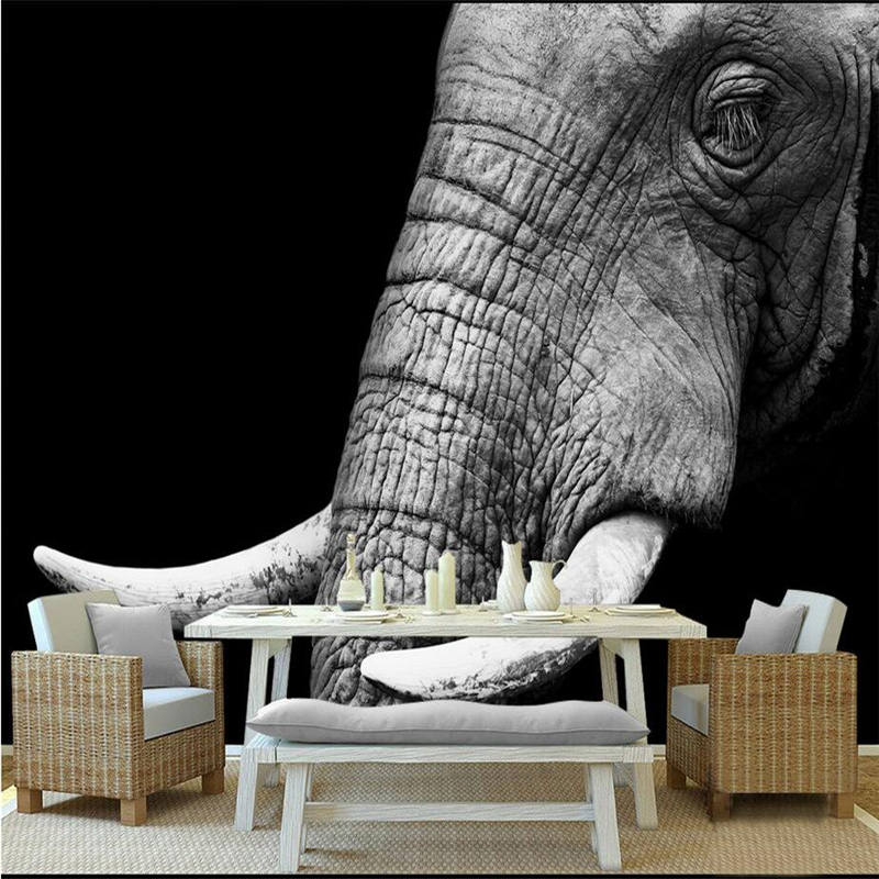 Custom Large Wall Murals Black and White Elephant Minimnalist Photo 3d Wallpaper Embossed Non-Woven TV Background Study Kitchen shinehome black white cartoon car frames photo wallpaper 3d for kids room roll livingroom background murals rolls wall paper