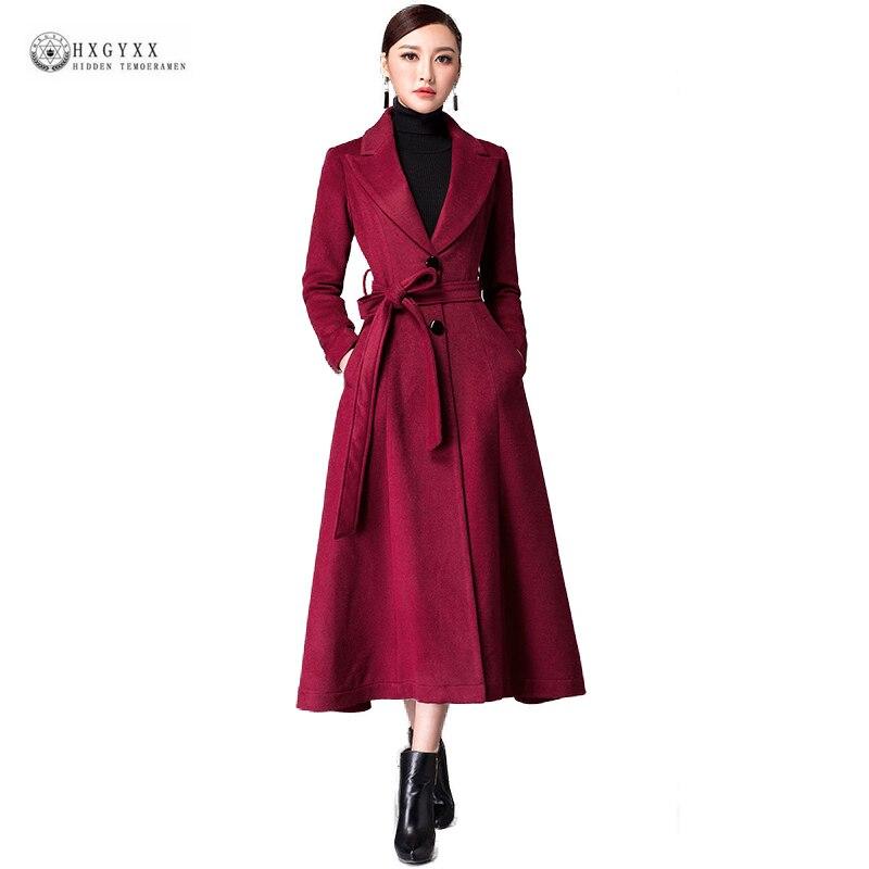 New Arrival Women Woolen Cloth Overcoat 2018 New Autumn Outerwear Pure Color Lapels X-Long Plus Size Wool Coat With Belt OK1243