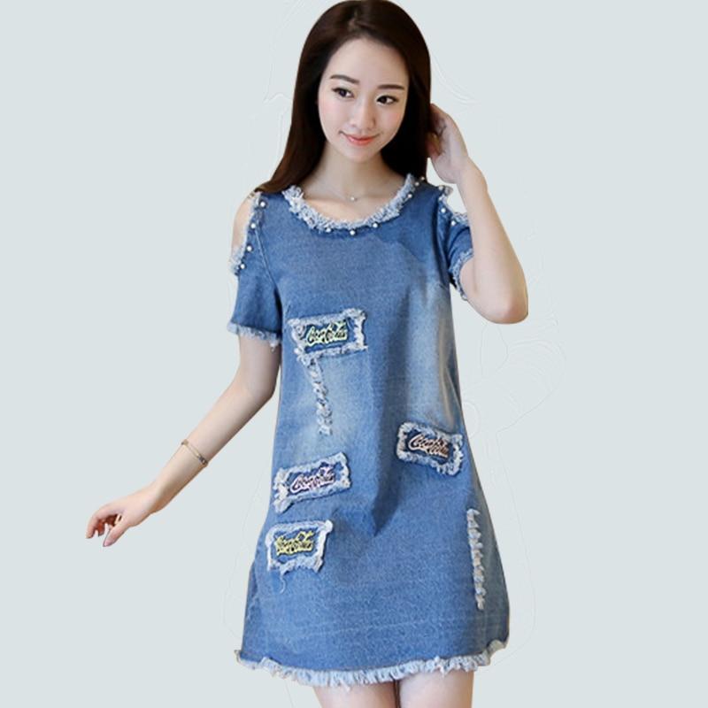 2018 New Lace Bead Patchwork Summer Women Denim Dresses Half Sleeves Loose A Line Dresses Plus Size 5xl Jeans Dresses Aa206 Dresses
