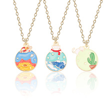 2019 New Fashion Sweet DIY Cactus Pendant Gold Alloy Cartoon Polar Bear Necklace Woman Children Plant Jewelry Accessories Gift creative diy fashion plant pendant cartoon cactus necklace gold chain coconut necklace pendant female girl new year gift jewelry