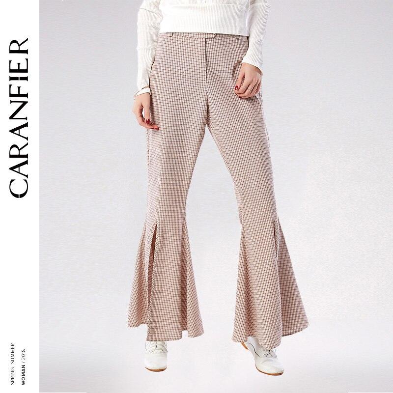 CARANFIER 2018 New Fahion Plaid Wide Leg Pants Elastic High Waist Loose Long Flare Pant Women Elegant Button Brand Trouser