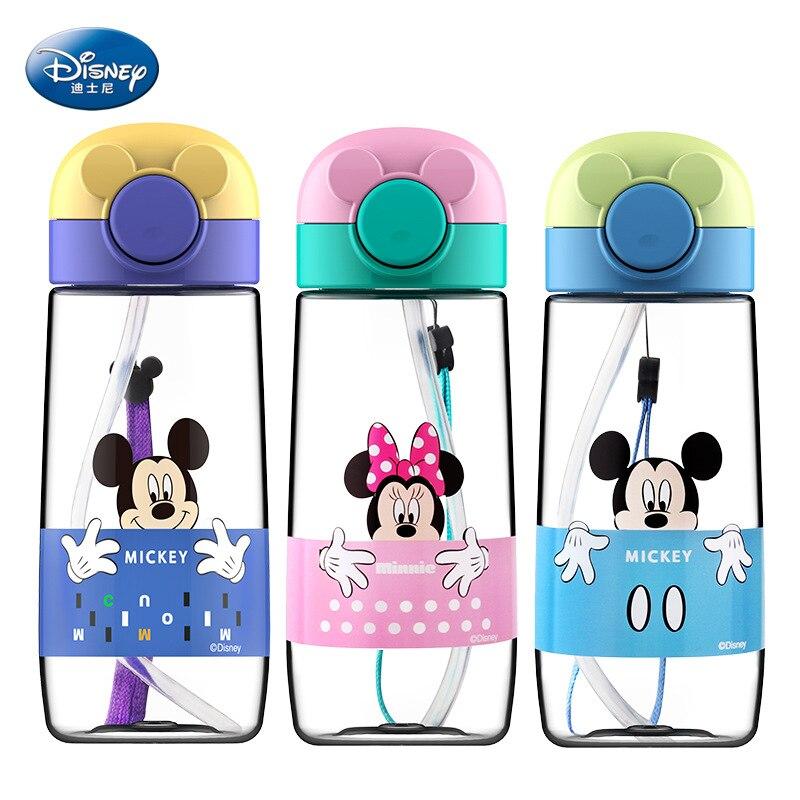 360ml Disney Kids Feeding Cups Baby Water Feeding Bottle Straw Portable Cartoon Minnie Mickey Vacation Picnic Cup Sport Bottles