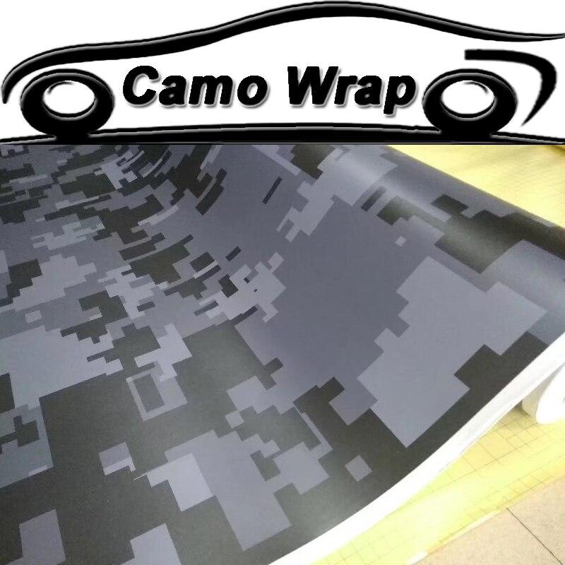 Película de vinilo negro gris camuflaje Digital papel de aluminio adhesivo Digital película de coche camión motocicleta Scooter Etiqueta de embalaje aire libre
