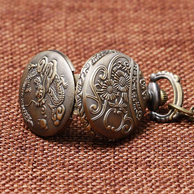 Ретро 3D Китайский дракон дизайн маленький размер кварцевые карманные часы с цепочка-ожерелье под свитер лучший подарок для женщин