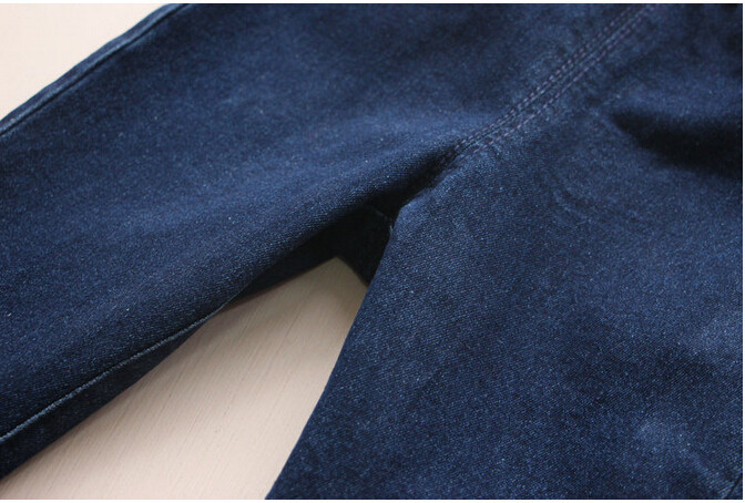 Y 30691840 Retail 2017 New Casual Girl Jeans Solid Appliques Bear Doll Gil Pants Skinny Pencil Pants Children Clothes