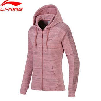 Li-Ning ผู้หญิง FZ ถักเสื้อกันหนาว Hoodie Zip ปกติ Fit แจ็คเก็ต Comfort Fitness ซับกีฬา AWDN136 WWW966