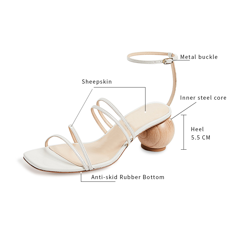 ring metal heels  sandals women geometric asymmetrica strange high strappy personality catwalk white shoes zapatos mujer