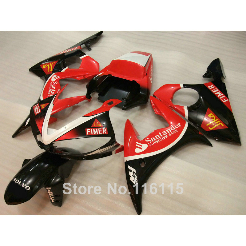 √Para Yamaha YZF-R6 Kit de carenado 2003 2004 2005 negro rojo ...