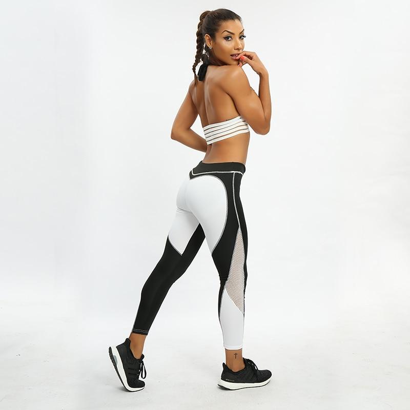 SVOKOR Mesh Heart Print Leggings Women Summer Sportswear Casual Splice Pants Fashion Elastic Push Up Fitness Female Leggings