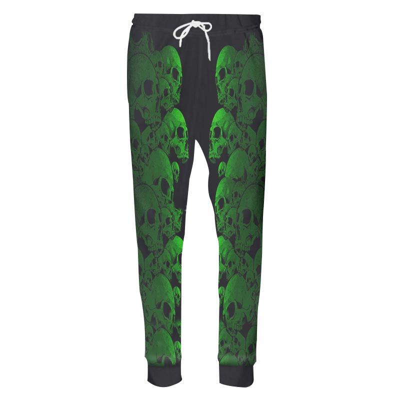 New Fashion MenWomen Pants 3D Printed Horror Green Skull Header Mens Pants Funny Hip Hop Sweatpants Novelty Streetwear CD50