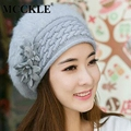 MCCKLE New Women Warm Genuine Knit floral Rex Rabbit Fur Hat winter warm wool beanie baggy hat for ladies windproof caps
