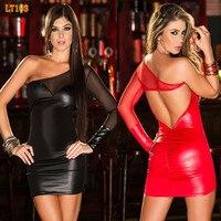Women Sexy Mesh PVC Erotic Leotard Costume Black Faux Leather Mini Party Dress PVC Clubwear Sexy
