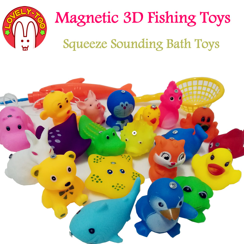 Lovely Too 28pcs Magnetic Fishing Game toy Squeeze Sounding Baby Bath Toys Soft Rubber Kids Children