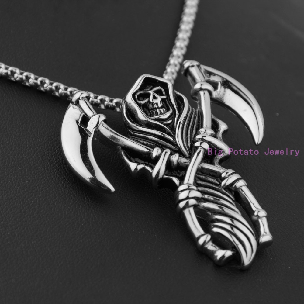 Exquisite design silver black grim reaper pendant necklace 5143mm exquisite design silver black grim reaper pendant necklace 5143mm 316l stainless steel fashion mens jewelry free 60cm chain in pendants from jewelry aloadofball Gallery