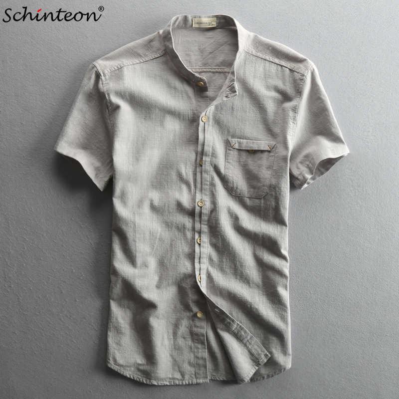 快適な新到着男性の夏の綿リネン半袖シャツ繁体字中国語マンダリンカラースリム