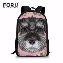 f10945c5b Schnauzer FORUDESIGNS Meninas Sacos de Escola para As Crianças Flor  Impressão Adolescentes Softback Grande Ombro Bagpack