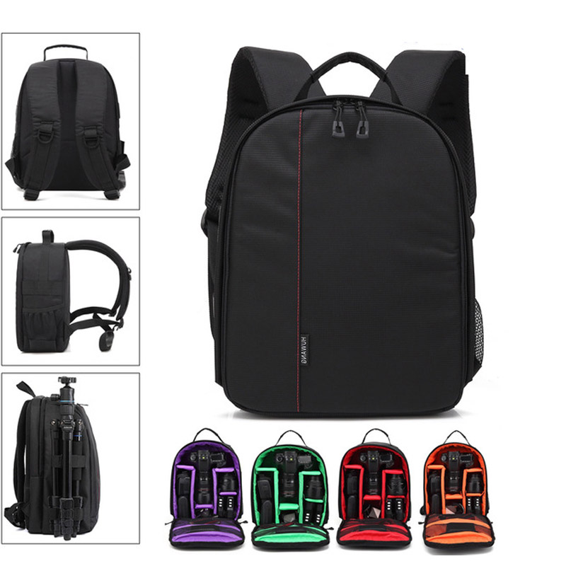 GTF DSLR Camera Bag Shoulder Backpacks Waterproof 12 Laptop Case Removable Interior Dividers Rain Cover Outdoor Photograpy Bag