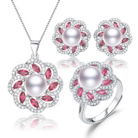 fresh water cultured 925 sterling silver bridal real pearl necklace and earring set natural freshwater pearl jewelry set