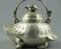 Çin Feng shui Gümüş kaplumbağa hayvan Kaplumbağa demlik Şarap demlik Flagon Heykeli statue statue animalstatue china -