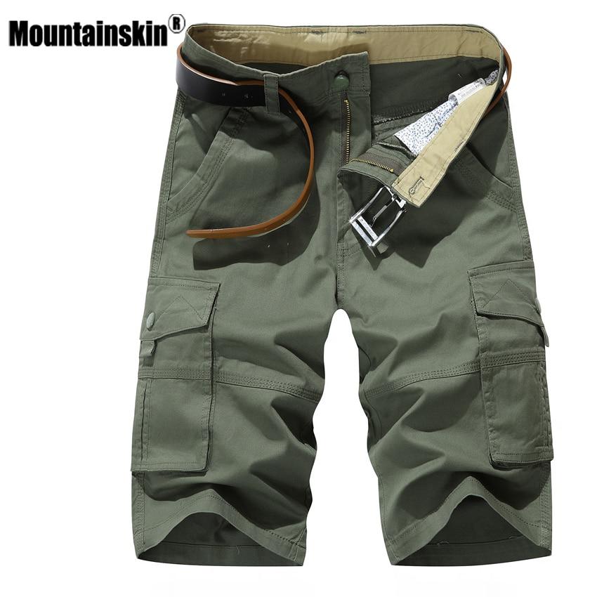 Mountainskin Men Summer Shorts Casual Beach-Brand Clothing Military Knee-Length Fashion