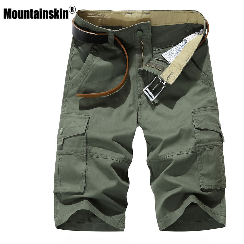 Mountainskin Men Summer Shorts Fashion Mens Military Knee Length Short Pockets Casual Business Short Beach Brand Clothing SA450