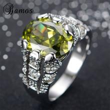 Bamos Fashion Male Peridot Ring High Quality 925 Sterling Si