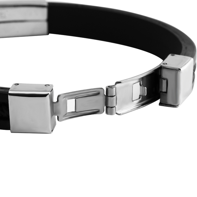 Silicone & Stainless Steel Fashion Wristband