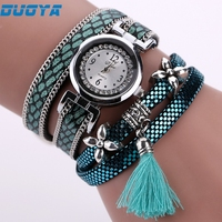 DUOYA New Fashion Women Bracelet Watch Gold Quartz Gift Watch Wristwatch Women Dress Leather Casual Bracelet Watches