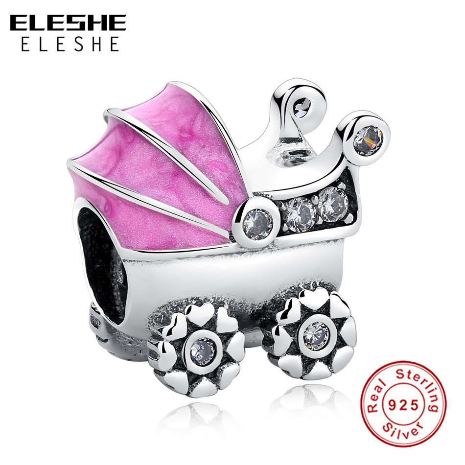 Baby Pram Pandora Charm Us 6 47 64 Off Eleshe 925 Sterling Silver Charms Beads Crystal Pink Enamel Baby Stroller Car Charm Fit Pandora Bracelet Diy Original Jewelry In