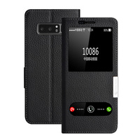 For Samsung Galaxy Note 8 Case Fashion Genuine Leather Flip View Window Cover For Galaxy Note