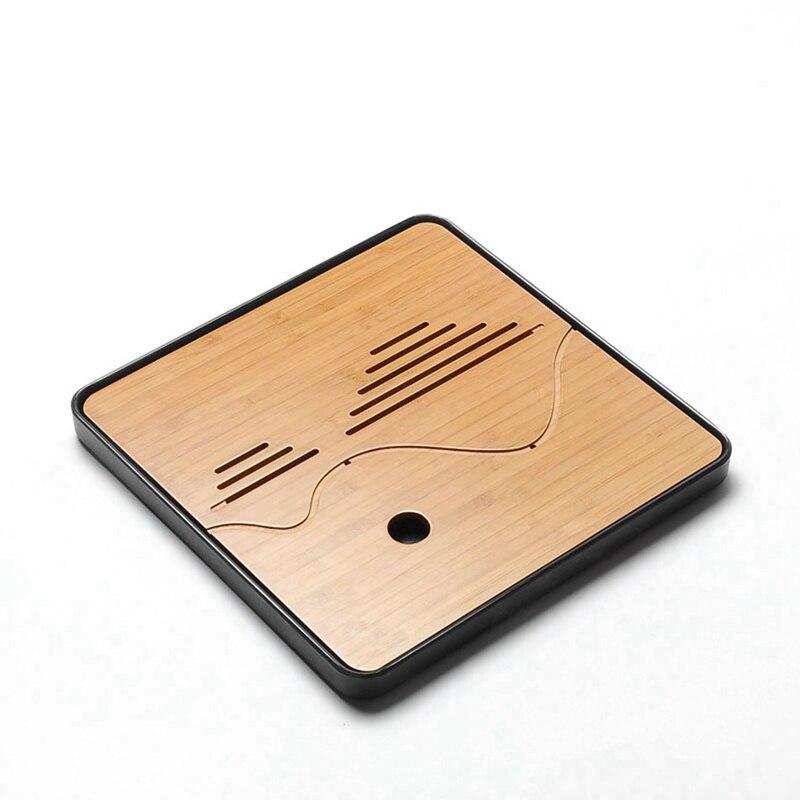 Bandeja de té China Kung fu Natural de bambú y Melamin puer con almacenamiento de agua de drenaje, bandejas de té redondas y cuadradas de viaje