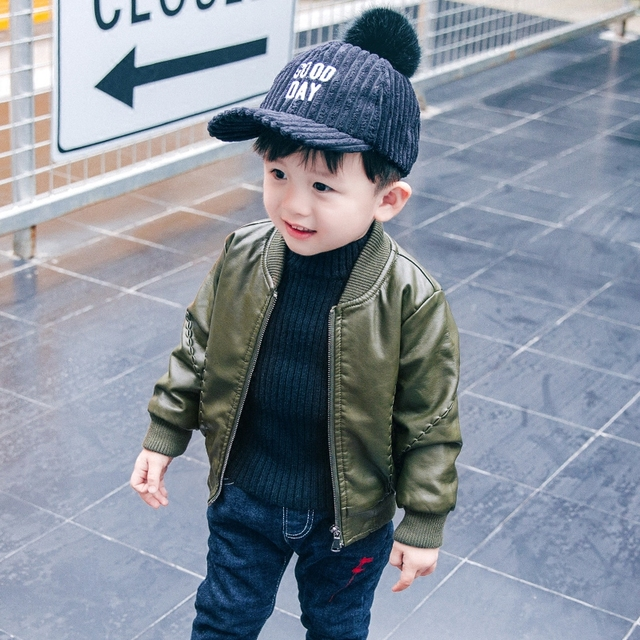 5979b19dbd3790 Motorcycle Pu leather jacket kids fall winter cool zipper coat black green toddler  boy fashion overcoat children blazer outwear