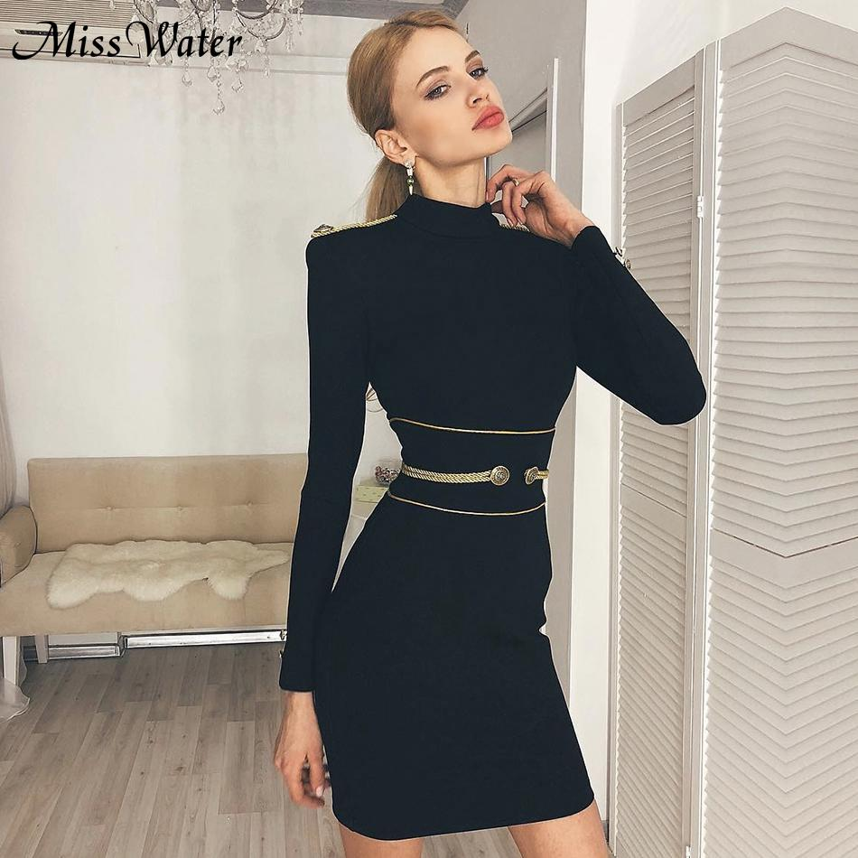 Miss Water Newest Celebrity Party Bodycon <font><b>Dress</b></font> Women Black Long Sleeve O-Neck Button <font><b>Sexy</b></font> <font><b>NightClub</b></font> Mini <font><b>Dress</b></font> Women Vestidos image
