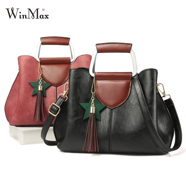 2017 Winmax Women Handbags Tassel Top-handle Shoulder Bags Ladies Vintage  PU Leather Hand Bag 0d1ce4aa962bb