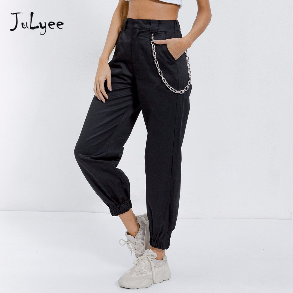 Julyee High waist   pants   loose joggers Cargo   pants   streetwear punk women   capris   trousers Chain Casual