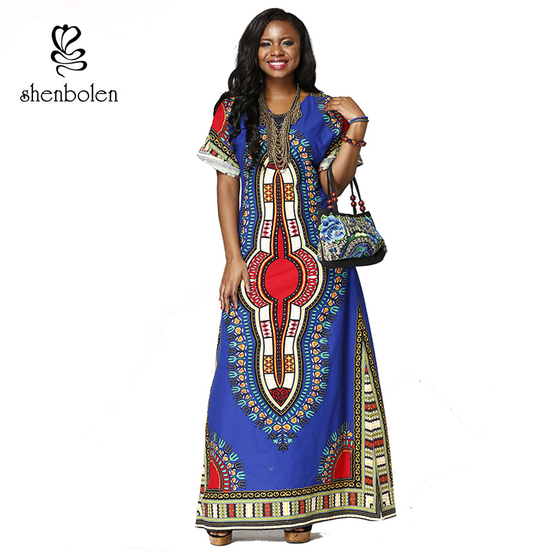 dashiki Traditional printing clothing african maxi dresses for women 2017 short sleeve casual dress 100% cotton plus size