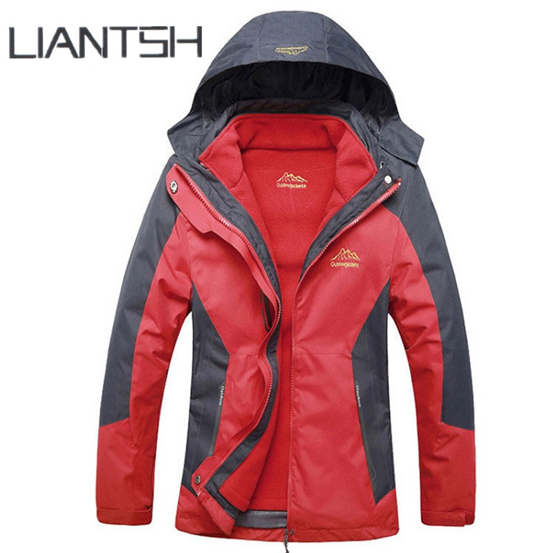 3 in 1 Thermal Fleece Waterproof Outdoor Jackets for Women Softshell Sports Skating Mountaineering Climbing Hiking